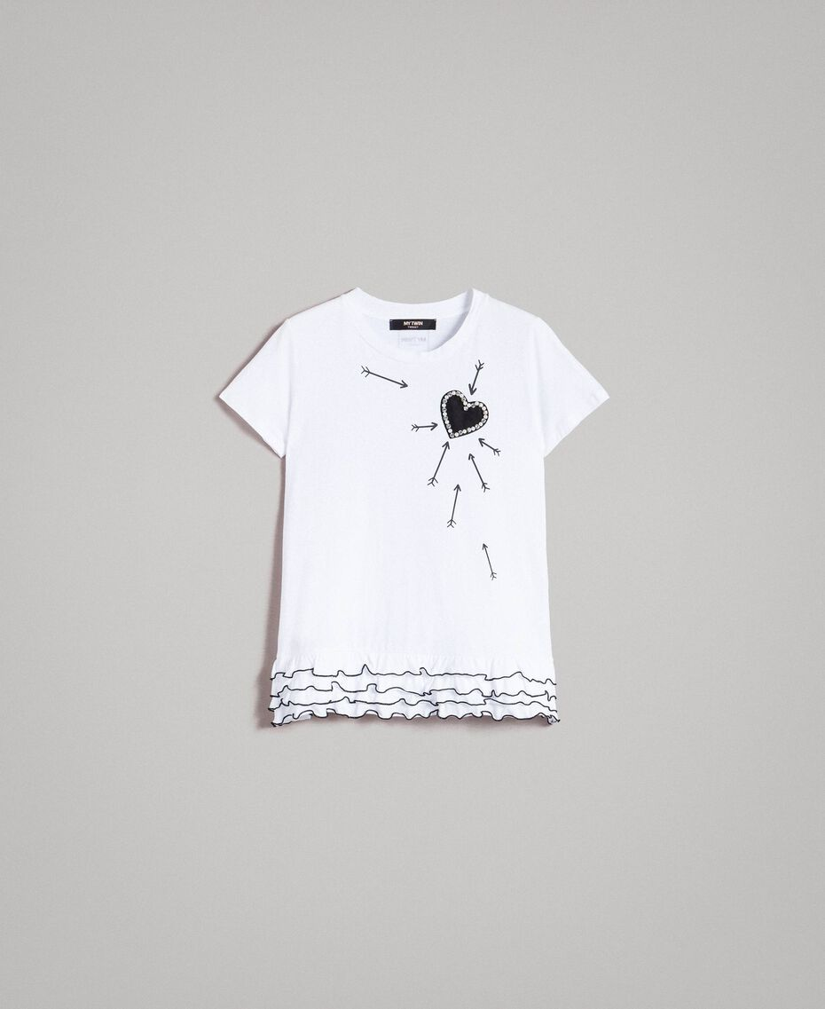 T-shirt with print and flounce White Cream Woman 191MP206D-0S