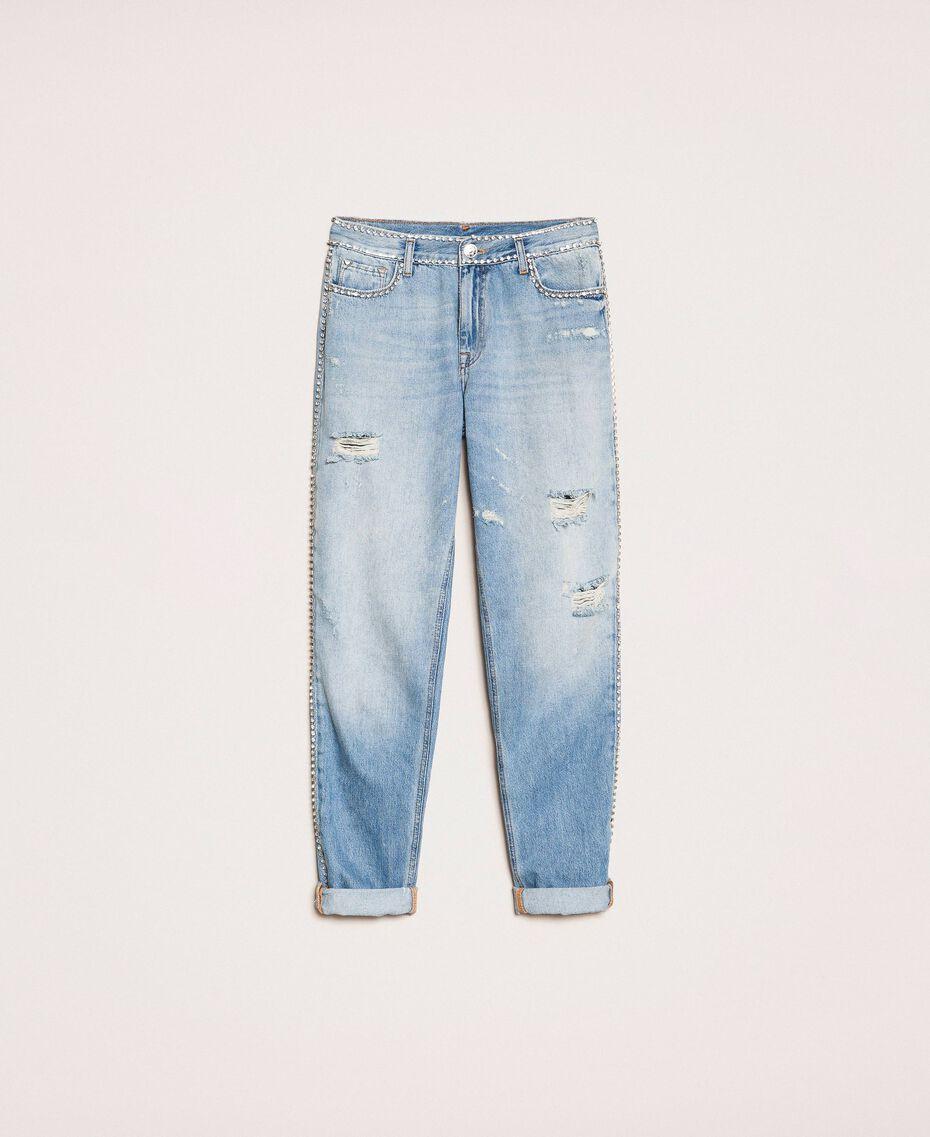 Rhinestone Girlfriend jeans Denim Blue Woman 201MP2275-0S