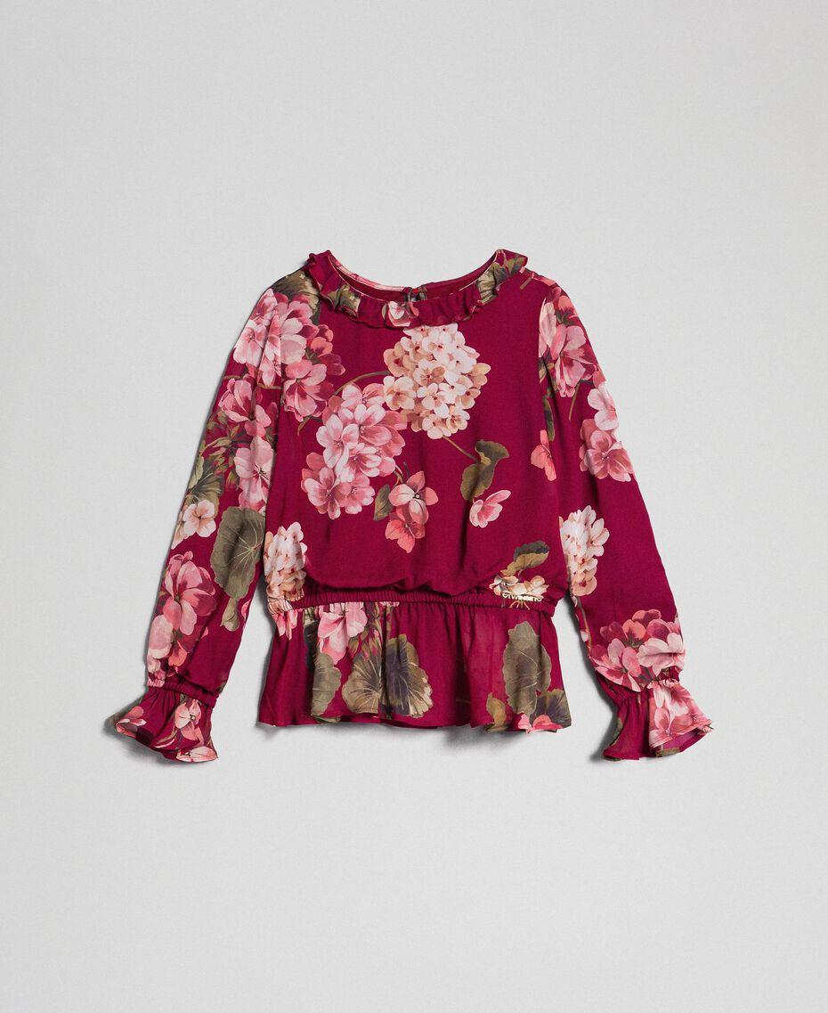 Blouse en crêpe georgette avec imprimé floral Imprimé Rouge Betterave Géranium Enfant 192GJ2591-0S