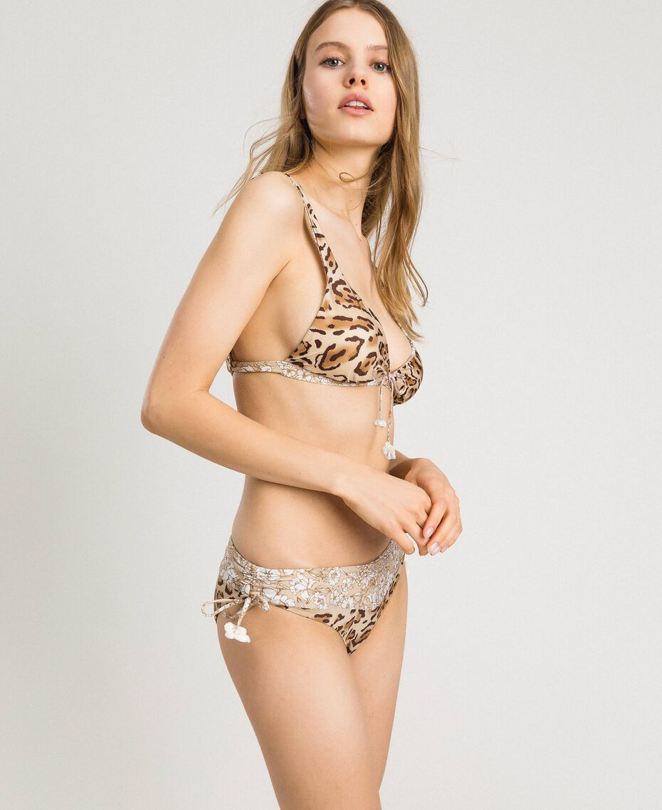 "Leopard print triangle bikini top ""Petra Sandstone"" Brown Animal Print Woman 191LMMU33-0S"