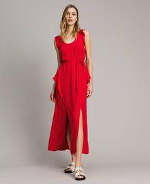 "Jacquard butterfly and flounce long dress ""Lipstick Red"" Woman 191TT2144-01"