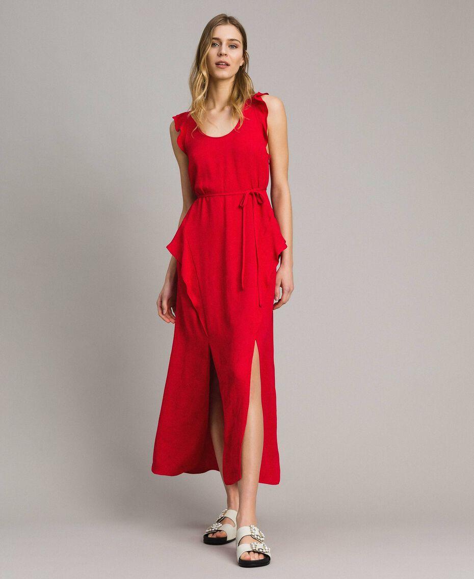 """Длинное платье с жаккардовыми бабочками и оборками """"Lipstick Red"""" Красный женщина 191TT2144-01"""