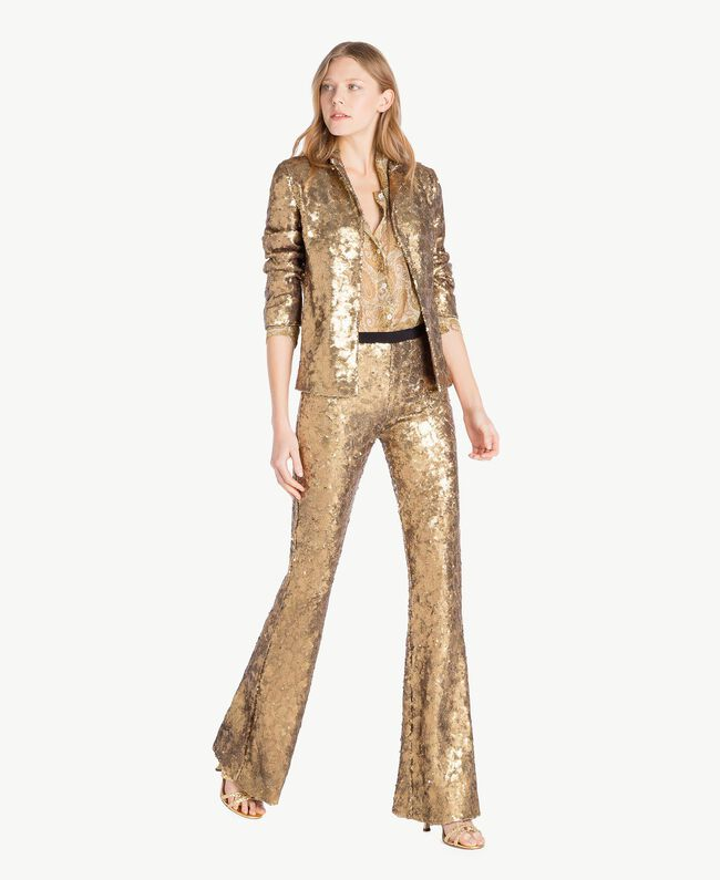 All over sequin jacket Gold Yellow Woman TS82EN-05
