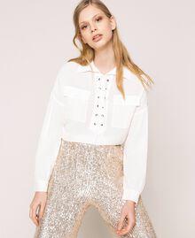 Рубашка из смесового шелка на декоративной шнуровке Белый Снег женщина 201TP2508-01