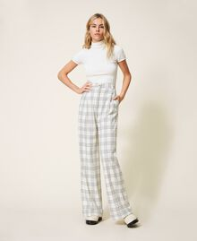"""Wool blend wide leg trousers Two-tone """"Snow"""" White / Black Woman 202TP254D-02"""