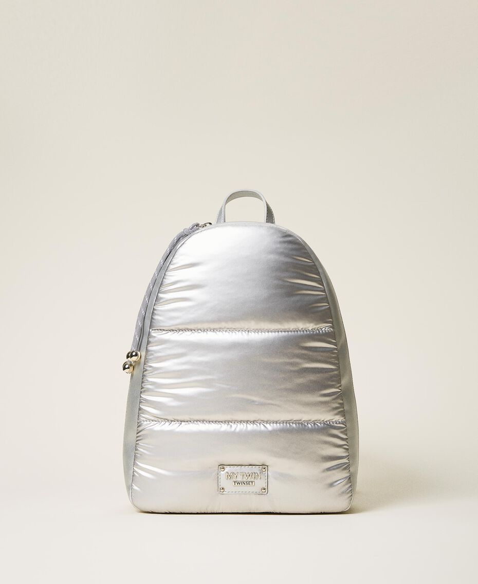Quilted backpack with logo Silver Woman 202MO8020-03
