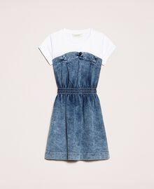 "Denim dress with gathering Two-tone ""Papers"" White / Medium Denim Child 201GJ2010-0S"