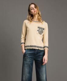 """Pullover aus Leinenmischung mit Stickereien """"Marzipan"""" Beige Frau 191TT3052-04"""
