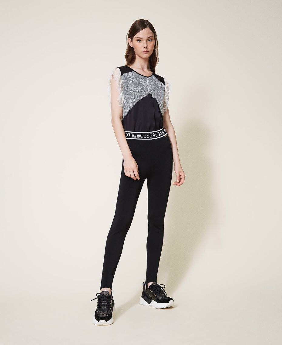 Knit leggings with logo Black Woman 202LI3KJJ-01
