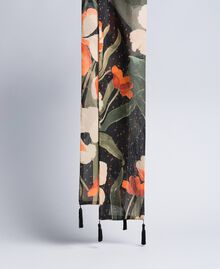 Printed scarf Maxi Black Tulip Print Woman OA8T14-02