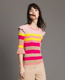 Gestreifter Pullover mit Rüschen Multicolour Regenbogen Frau 191TP3270-02
