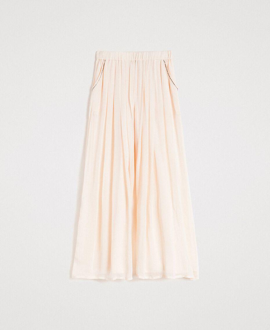 """Pantalon palazzo en crêpe Beige """"Voie Lactée"""" Femme 191LB21EE-0S"""