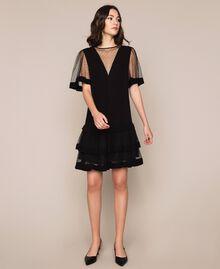 Crêpe de Chine dress with plumetis tulle Black Woman 201TP2371-0T