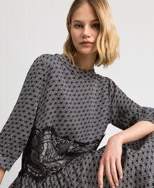 Kleid aus Twill mit Logoprint Logoprint Schwarz / Schneeweiß Frau 192TP258C-04