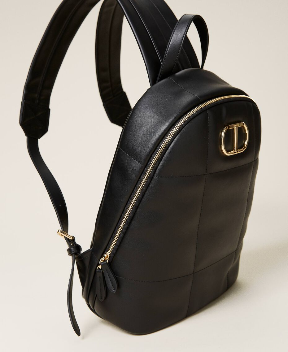 Quilted backpack with logo Black Woman 212TB7250-02