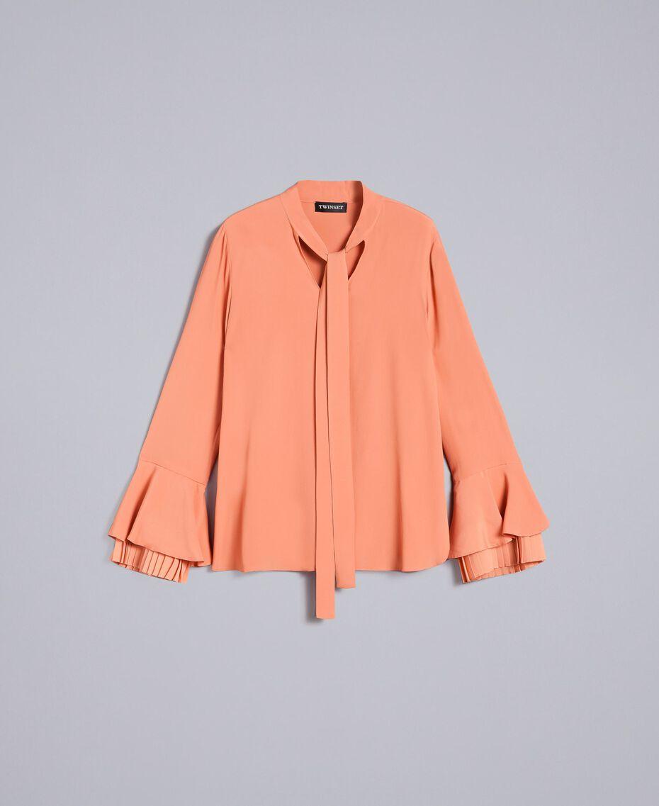 Bluse aus Seidenmischung mit Plissee Sandrosa Frau TA823T-0S