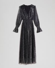 Long dress in metal creponne tulle Black / Silver Woman 192MT2141-0S