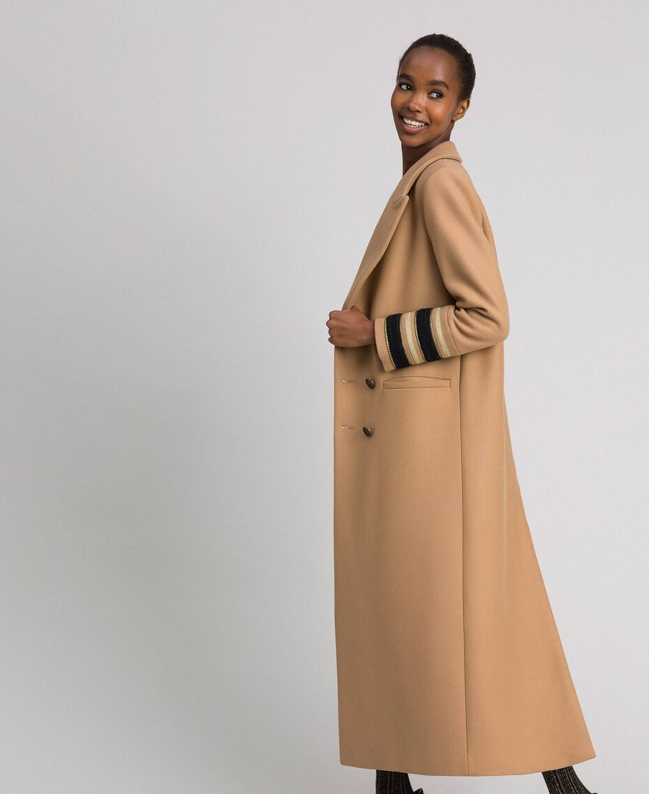 Double breasted wool cloth long coat Camel Woman 192TT2160-02