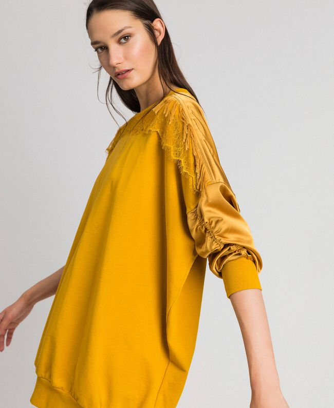 Satin maxi sweatshirt with lace and fringes Saffron Yellow Woman 192MP2271-01