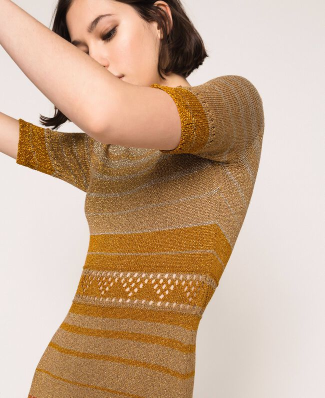 Striped lurex yarn dress Multicolour Gold Stripes Woman 201TT3090-04