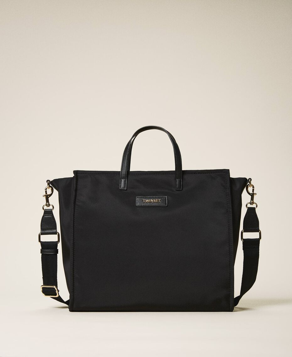 Satin Twinset Bag shopper with shoulder strap Black Woman 202TB7200-01