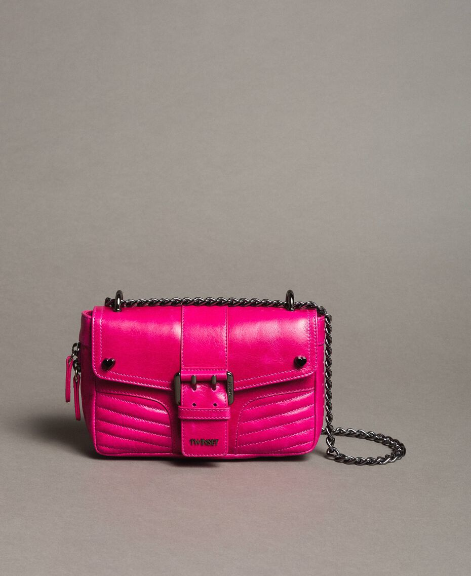 Rebel leather shoulder bag Fuxia Woman 191TO7237-02