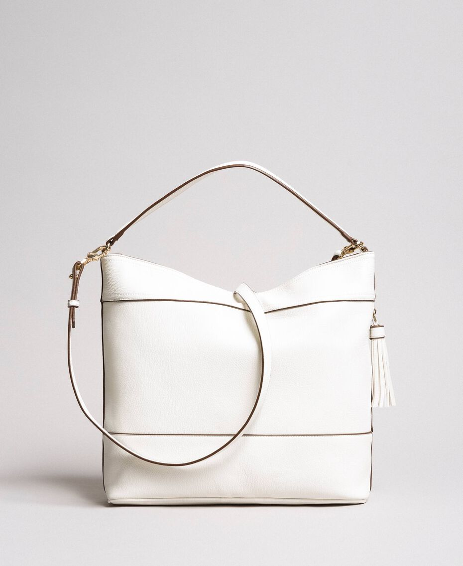 Faux leather hobo bag with tassel White Snow Woman 191TA7600-03