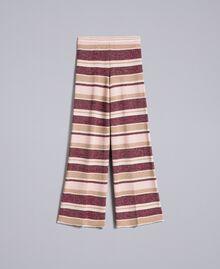 Pantalon palazzo rayé en lurex Multicolore Rose / Bordeaux Femme PA832Q-0S
