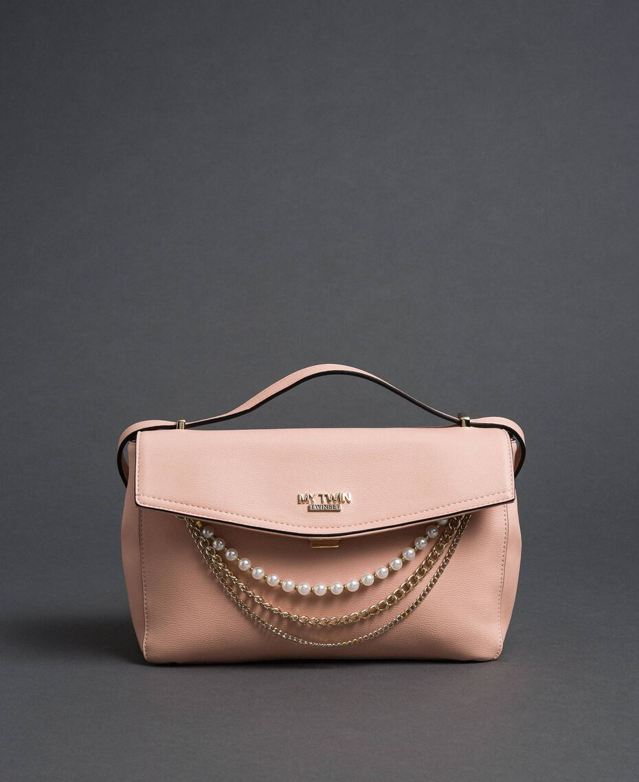 """Faux leather shoulder bag with pearls and chains """"Pale Pink"""" Woman 192MA7050-02"""