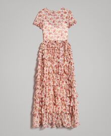 """Maxikleid aus Georgette mit Blumenmuster Motiv """"Blossom"""" Pink Bouquet Frau 191TP2574-0S"""