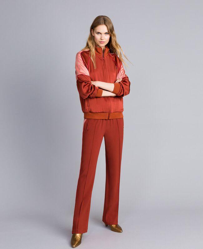 "Two-tone envers satin sweatshirt Bicolour ""Burnt"" Orange / Sand Pink Woman TA824U-0T"