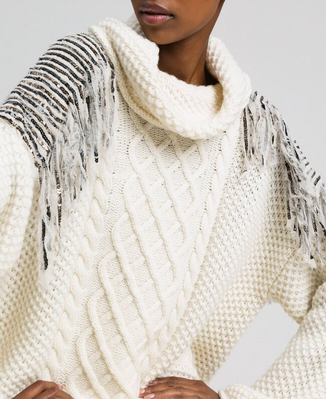 Oversize jumper with sequins and fringes White Snow Woman 192TT3231-01