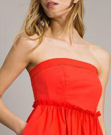Poplin long bustier dress Granadine Red Woman 191TT2247-02