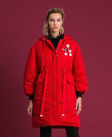 Technical satin padded parka coat Poppy Red Woman 192MP2082-02