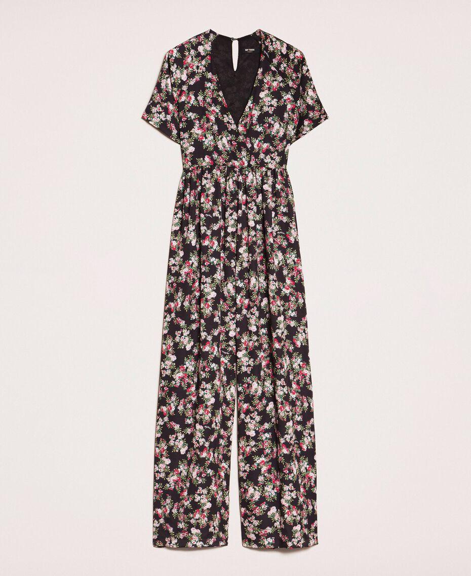 Combinaison en crêpe de Chine floral Imprimé Floral Rose «Quartz» Femme 201MP2372-0S