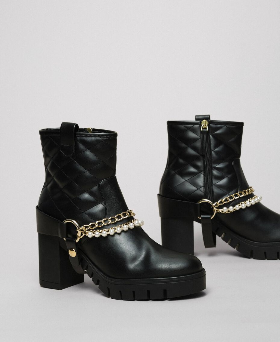 Biker boots with straps, chain and pearls Black Woman 192MCP050-03