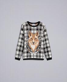 Maxi check jacquard jumper Mother-of-pearl / Black Check Fox Jacquard Woman YA83HN-0S