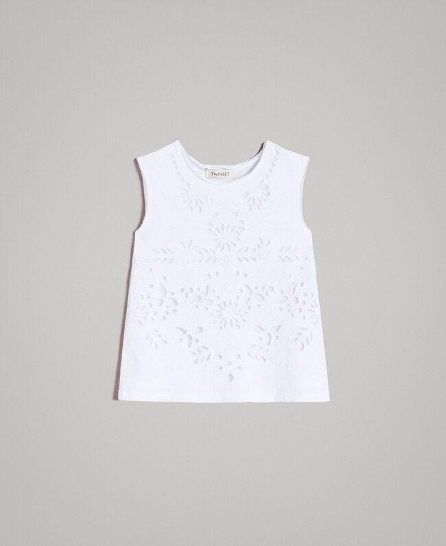 Jerseystoff-Top mit Lochstickerei-Verzierung Weiß Kind 191GJ2690-01