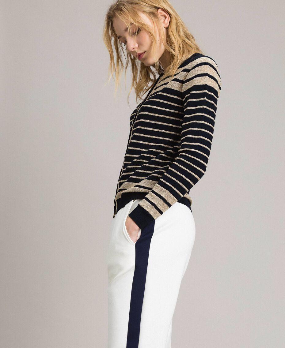 Viscose and lurex striped mandarin collar top Light Gold Lurex / Deep Blue Striping Woman 191TP3232-02