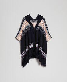 Alpaca jacquard blend poncho Indigo Woman 192MT3082-0S