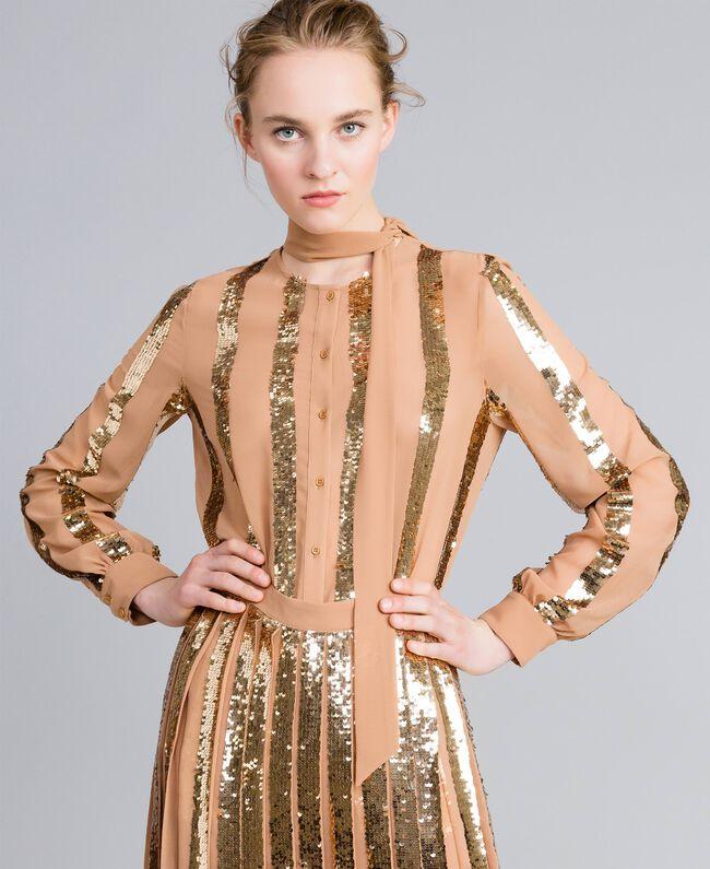 Camicia in georgette con paillettes Camel Donna PA82J2-01