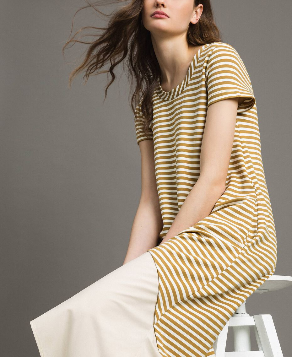 """Striped long dress with flounce Off White / """"Savannah"""" Beige Striping Woman 191ST2034-03"""