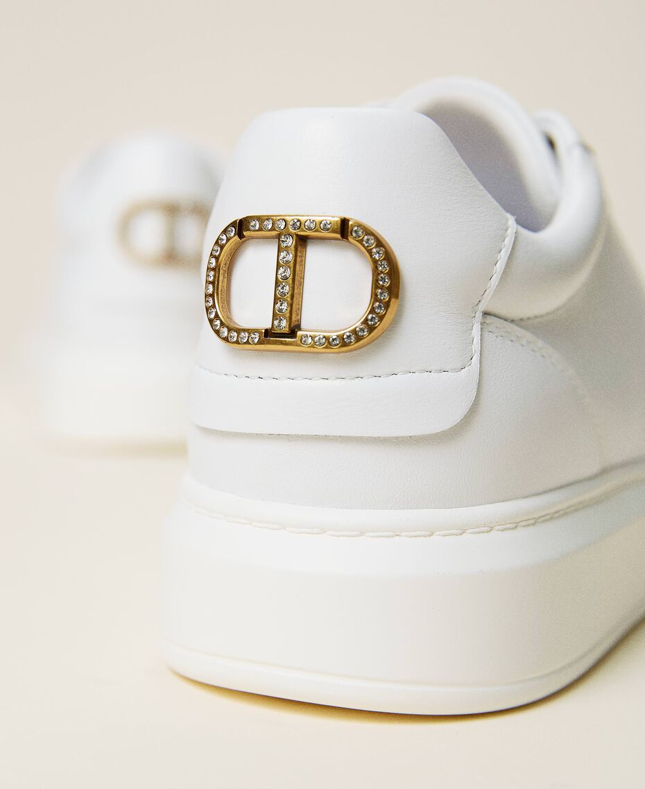 Leather trainers with rhinestone logo White Woman 212TCP140-03