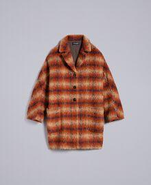Manteau en drap à carreaux Jacquard Carreaux Déchiré Marron Femme TA821J-0S