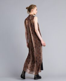 Robe longue en mousseline de soie animalière Imprimé Chocolat Serpent Femme PA829C-03