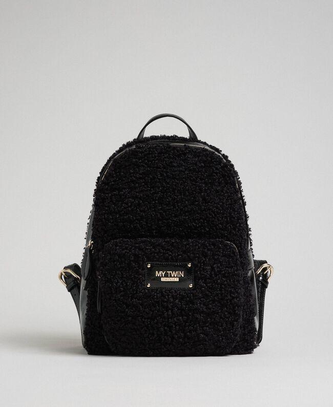 Sac à dos en fausse fourrure avec poche avant Noir Femme 192MO8080-01