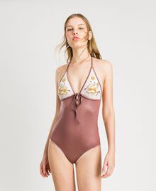"One-piece swimsuit with embroidery ""Bronze Powder"" Brown Woman 191LBM100-0S"