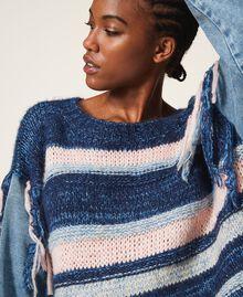 Трикотажная кофта с джинсовыми рукавами Разноцветный Смешанный Синий Трикотаж / Светлый Деним женщина 202MP3466-04