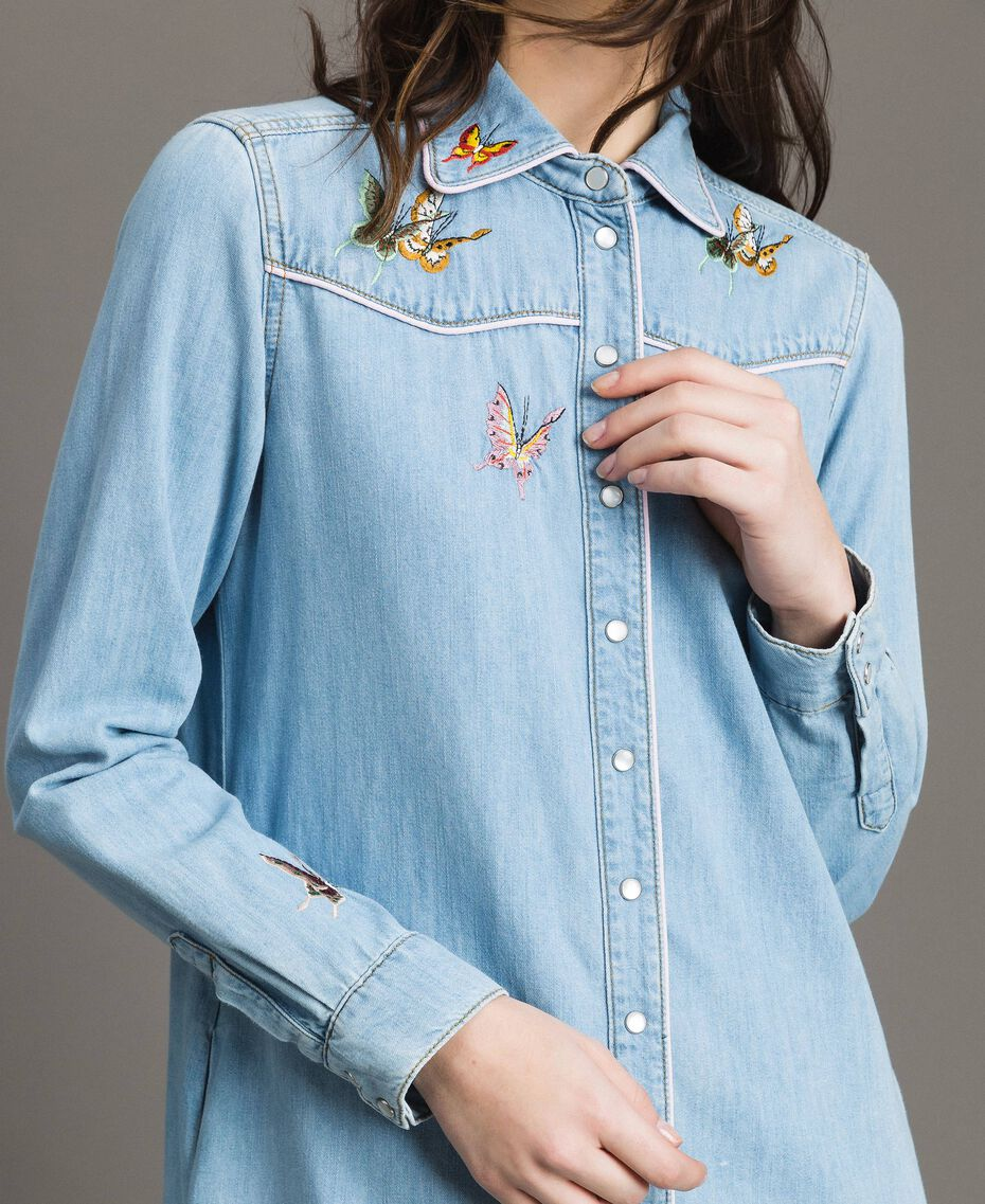 Denim shirt dress Light Denim Woman 191TP2534-05