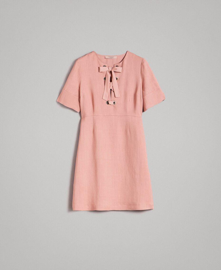 Kleid aus Leinenmischung mit Schleife Perlrosa Frau 191TP2204-0S